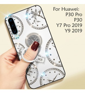 Huawei P30 Pro Y9 2019 Y7 Pro 2019 Timer Shining Diamond Cover Hard Back Casing Case Housing With I-Ring