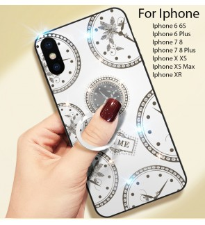 Iphone 6 6S Plus Iphone 7 8 Plus Iphone X XR XS Max Timer Shining Diamond Hard Case Cover Casing Back Housing I-Ring