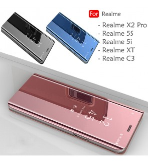 Realme X2 Pro Realme XT Realme 5S Realme C3 Realme 5i Delight Mirror Flip Pouch Case Cover Casing Mobile Phone Housing
