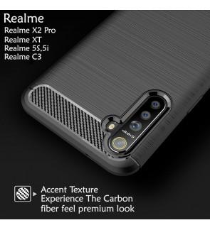 Realme X2 Pro XT Realme 5S 5i realme C3 TPU Carbon Fiber Silicone Soft Case Cover Casing Brushed Housing