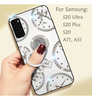 Samsung Galaxy A51 A71 S20 S20 Plus S20 Ultra Timer Shining Diamond Hard Case Cover Casing Back Housing With I-Ring