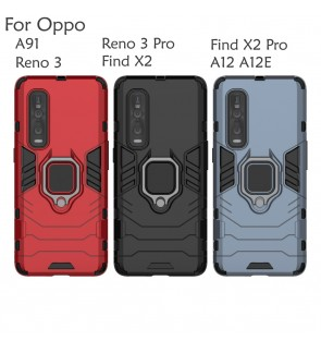 Oppo A91 Reno 3 Pro A12 A12E Find X2 Pro Car Holder Case Cover Casing Full Protection Stand Back Housing