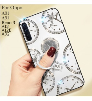 Oppo A91 Reno 3 A31 A92 A12 A12E Timer Shining Diamond Hard Case Cover Casing Back Housing With I-Ring