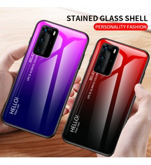 Huawei Y7P P40 Pro Plus Gradient Aurora Case Cover Casing Tempered Glass Housing