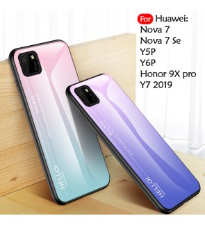Huawei Y5P Y6P Nova 7 Nova 7SE Honor 9X Pro Y7 2019 Gradient Aurora Case Cover Casing Tempered Glass Housing