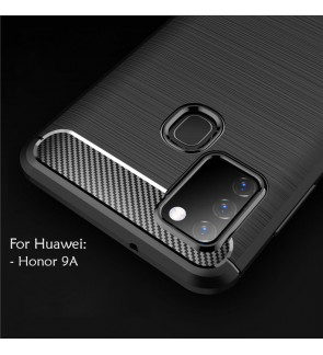 Huawei Honor 9A TPU Carbon Fiber Silicone Soft Case Cover Casing Brushed Housing