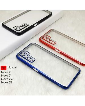 Huawei Nova 5T 7i Nova 7 SE 7SE Electroplate Ver 4 Crystal Transparent Case Cover TPU Soft Camera Lens Protection Casing