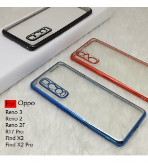Oppo Reno 3 Reno 2 2F Find X2 X2 Pro R17 Pro Electroplate Ver 4 Transparent Case Cover TPU Soft Lens Protection Casing